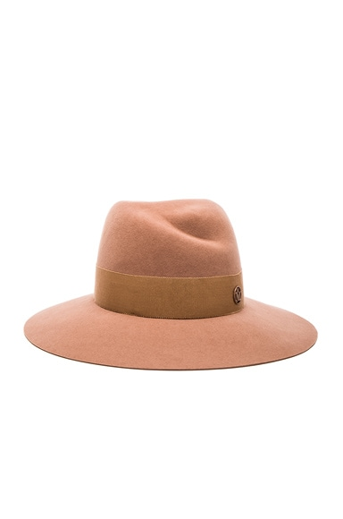 Maison Michel Virginie Large Brim Hat in Light Camel