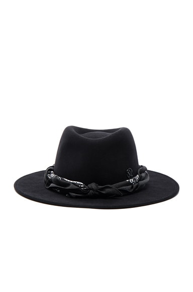 Maison Michel Thadee Masculine Plain Hat in Black