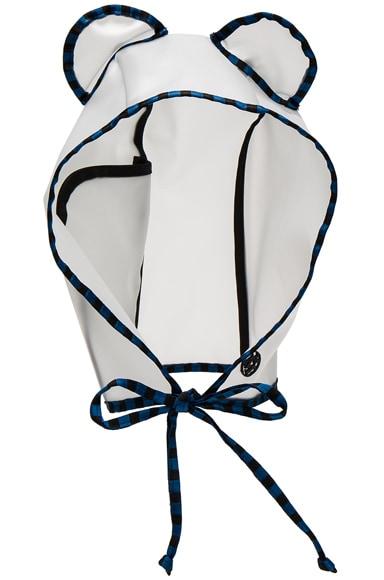 Maison Michel Lara Pocket Rain Mat Cap in Transparent Blue