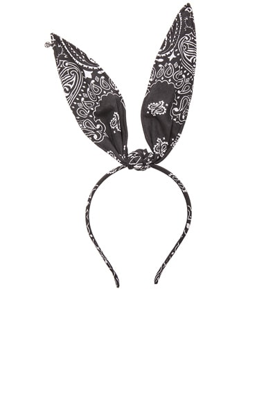 Maison Michel Heidi Wooba Bandana Rabbit Ears in Black