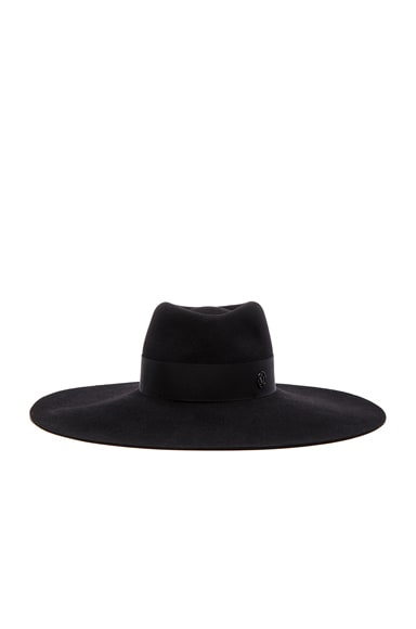 Maison Michel Fara Wide Brim Hat in Black