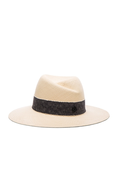 Maison Michel Virginie Hat in Natural Navy