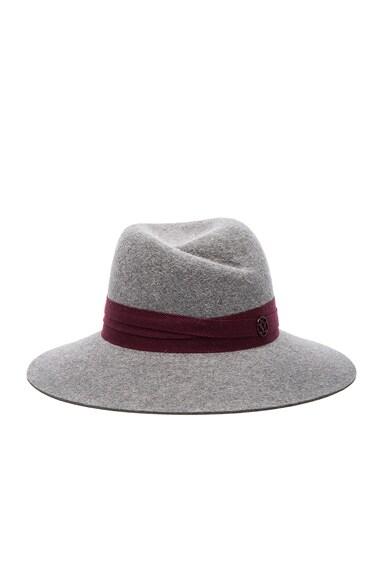 Maison Michel Virginie Hat in Grey & Bordeaux