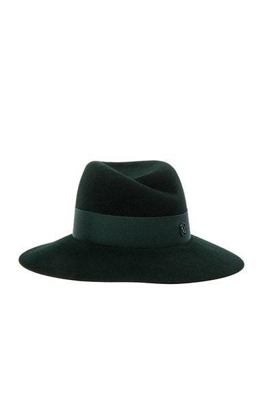 Maison Michel Virginie Hat in Study Green