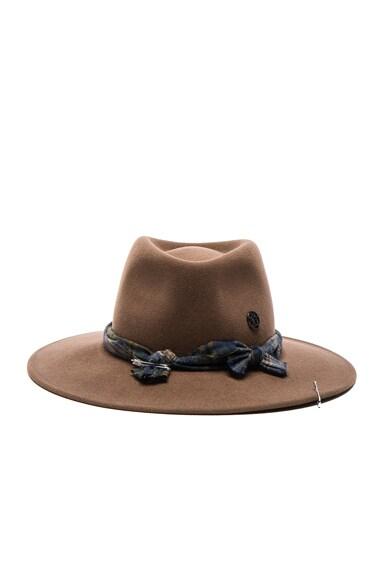Maison Michel Pierre Hat in Dusty Beige