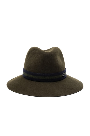 Maison Michel Henrietta Hat in Camo Green