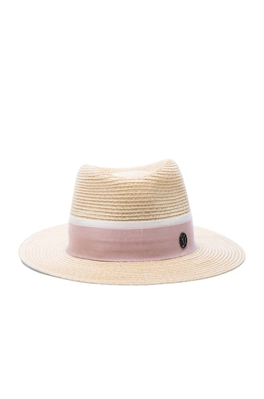 Maison Michel Andre Straw Hat in Natural Pink
