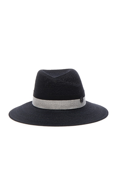 Maison Michel Rosa Straw Hat in Captain Navy