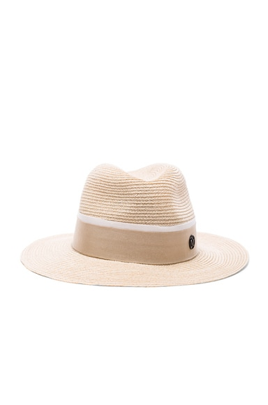 Maison Michel Henrietta Straw Hat in Natural Beige