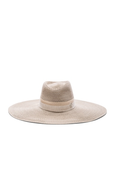 Maison Michel Elodie Straw Hat in White Chalk