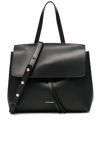 Mansur Gavriel Mini Lady Bag in Black & Blu Vegetable Tanned