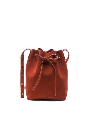 Mansur Gavriel Mini Bucket Bag in Brick Suede