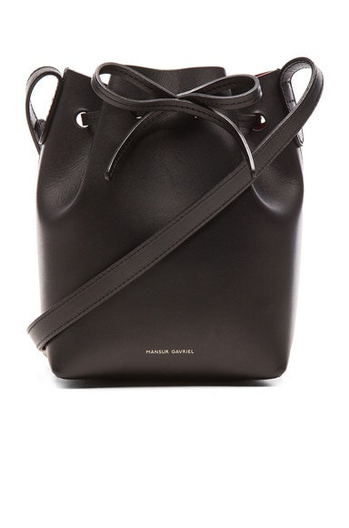 Mansur Gavriel Mini Mini Bucket Bag in Black & Flamma