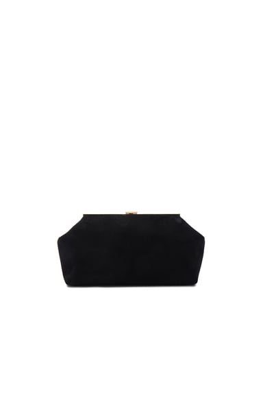 Mansur Gavriel Suede Volume Clutch in Black
