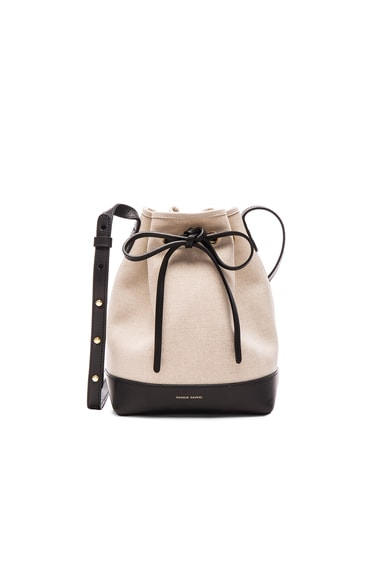 Mansur Gavriel Canvas Mini Bucket Bag in Creme & Black