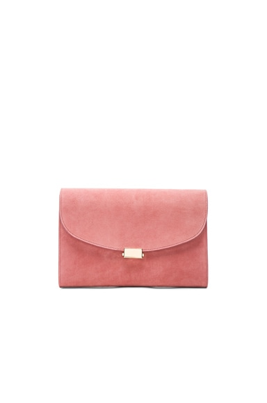 Mansur Gavriel Suede Flat Clutch in Blush