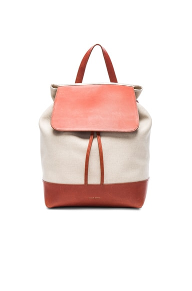 Mansur Gavriel Canvas Backpack in Brandy & Creme