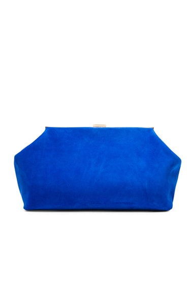 Mansur Gavriel Suede Volume Clutch in Royal