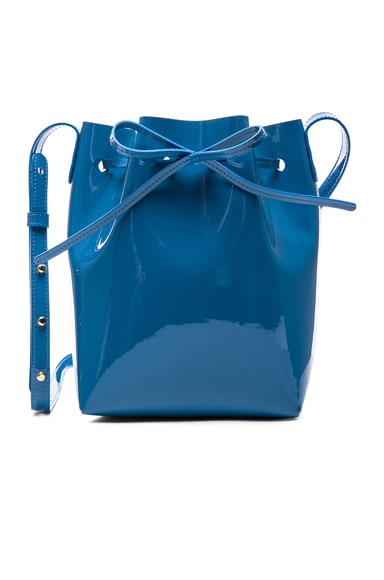 Mansur Gavriel Mini Bucket Bag in Sea Blue Patent