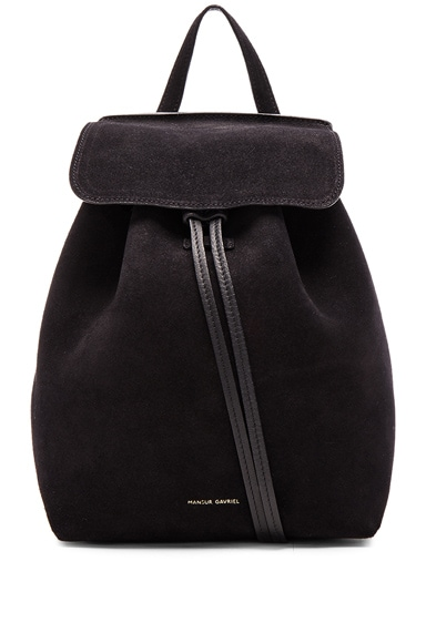 Mansur Gavriel Mini Backpack in Black Suede