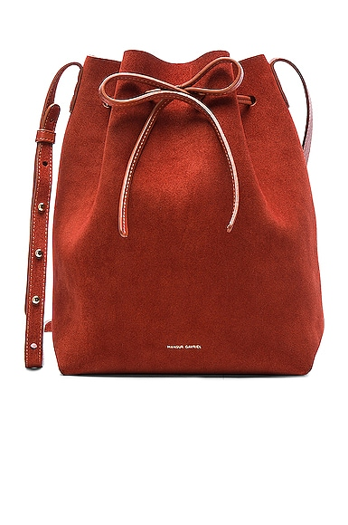 Mansur Gavriel Bucket Bag in Brick Suede
