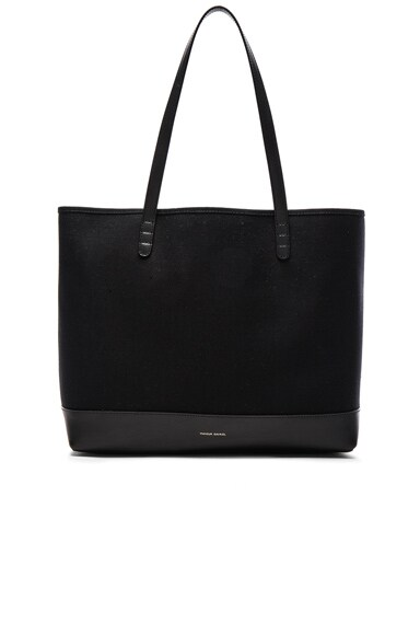 Mansur Gavriel Canvas Tote in Black & Black