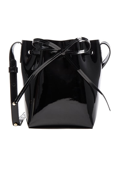 Mansur Gavriel Mini Mini Bucket in Black Patent