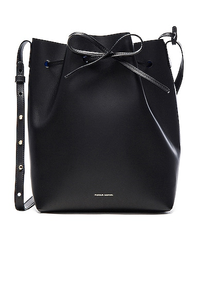 Mansur Gavriel Bucket Bag in Black & Royal
