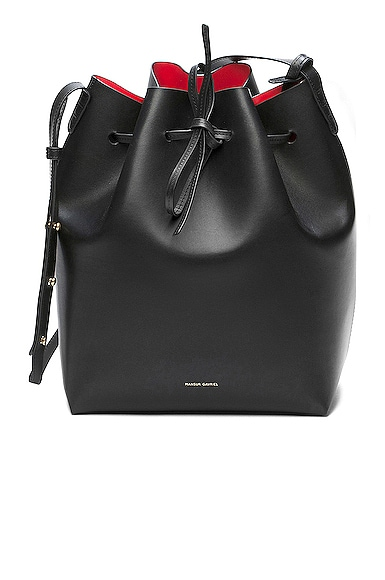 Mansur Gavriel Coated Large Bucket Bag in Black & Flamma