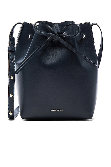 Mansur Gavriel Mini Bucket Bag in Blu Calf