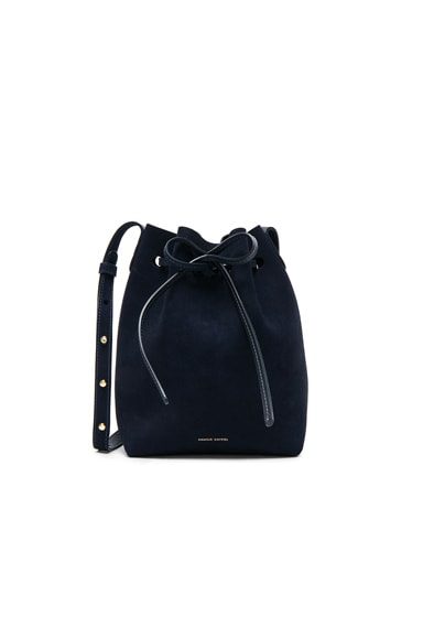 Mansur Gavriel Mini Bucket Bag in Blu Suede