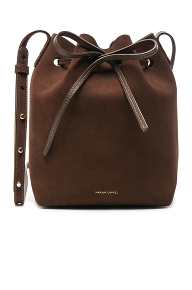 Mansur Gavriel Mini Bucket Bag in Chocolate Suede