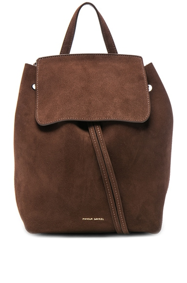 Mansur Gavriel Mini Backpack in Chocolate Suede