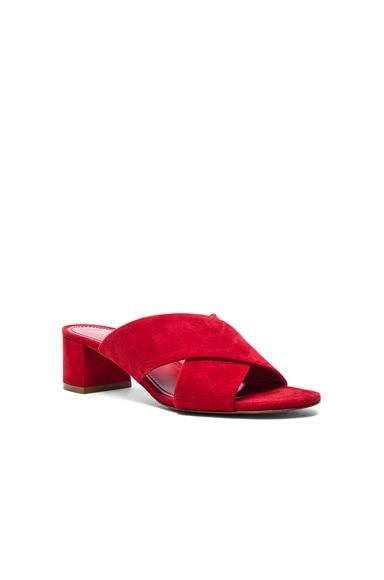 Suede X Strap Heels