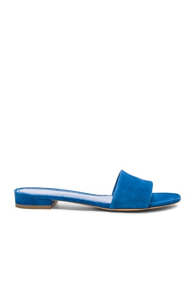 Mansur Gavriel Single Strap Suede Flats in Sea Blue Suede