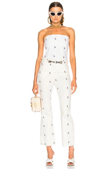 Mimi Embroidered Crop Flare with Art Deco Belt