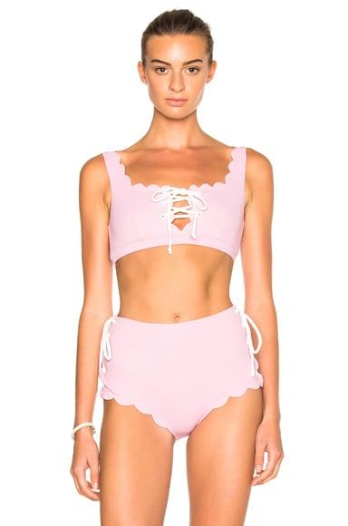 Marysia Swim FWRD Exclusive Palm Springs Lace Up Bikini Top in Pale Pink