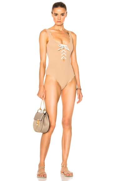Marysia Swim Palm Springs Tie Swimsuit in Tan & White