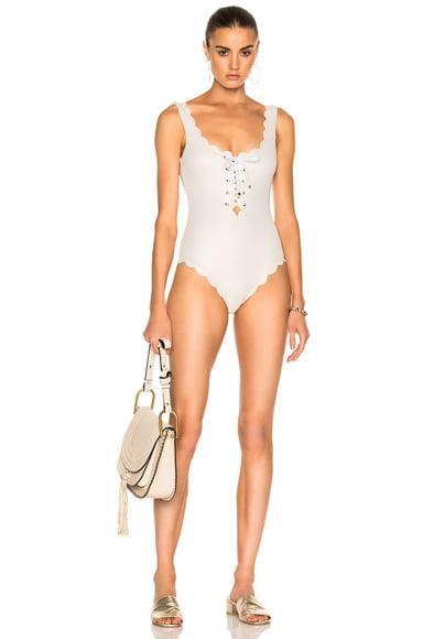 Marysia Swim Palm Springs Tie Maillot Swimsuit in Metallic Cream
