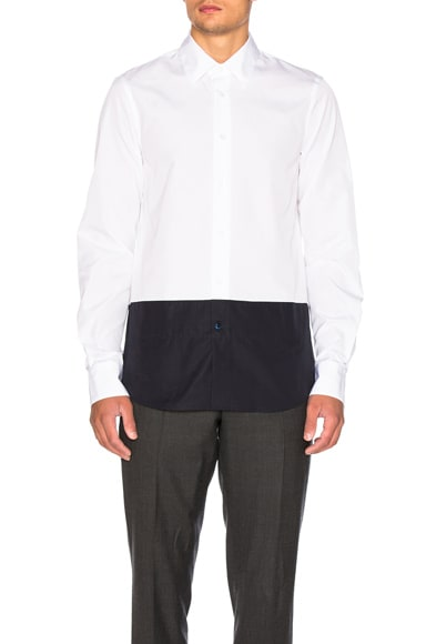 Marni Color Block Shirt in White & Navy