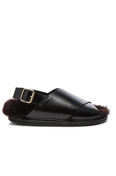 Cross Strap Lamb Fur Sandals