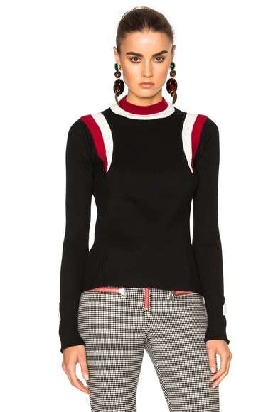 Marni Virgin Wool Round Neck Sweater in Black & Raspberry