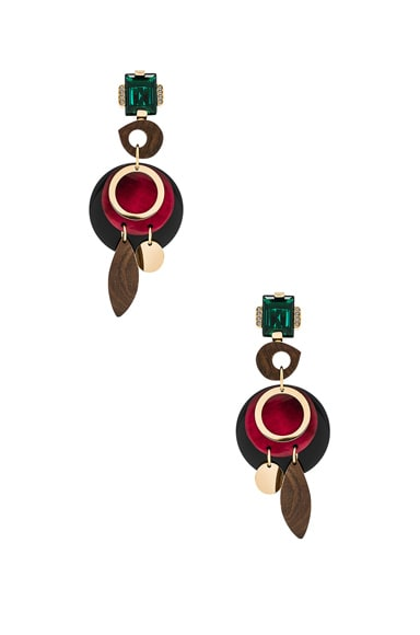 Marni Wood Earrings in Black Cherry