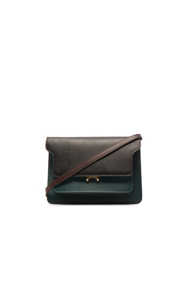 Marni Trunk Shoulder Bag in Black & Petroleum