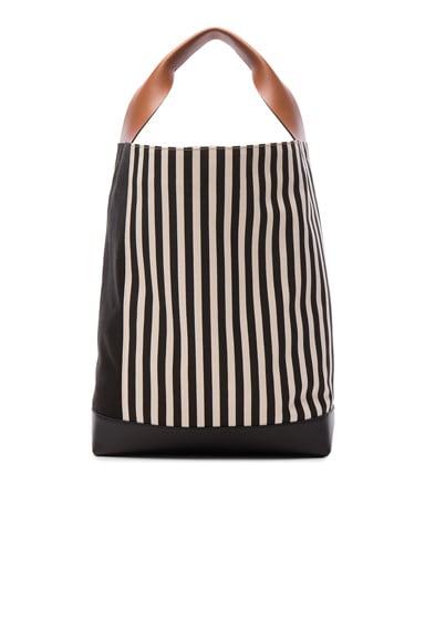 Marni Canvas Stripe Shoulder Bag in Black & Marron