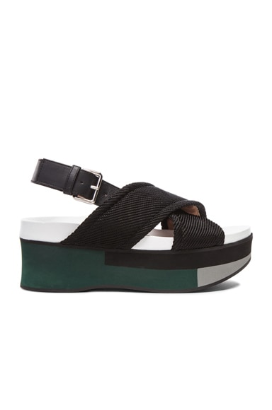 Marni Leather Sandal Wedges in Coal & Limestone