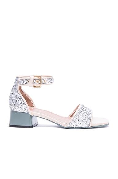 Marni Glitter Sandals in Silver