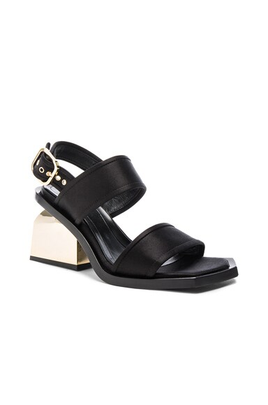 Chunky Heel Satin Sandals
