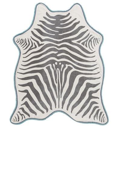 Maslin FWRD Exclusive Zebra Hide Crochet Towel in Grey & Blue Rainbow