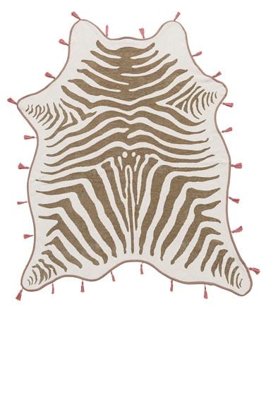 Maslin FWRD Exclusive Zebra Hide Tassel Towel in Natural & Dusty Pink